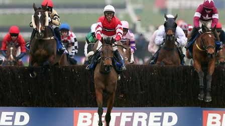 Coneygree ridden by jockey Nico de Boinville prior to winning the Betfred Cheltenham Gold Cup Chase