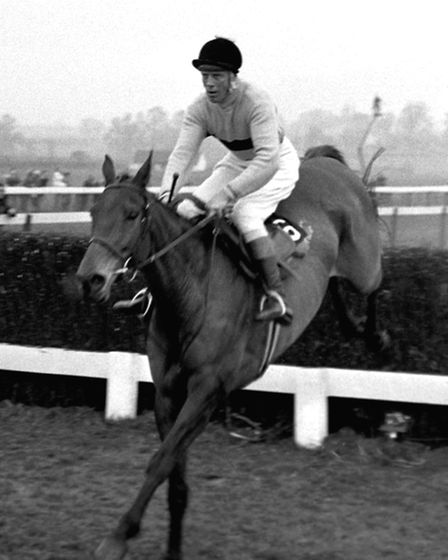 Arkle, ridden by P.Taaffe, taking the last jump in the Cheltenham Gold Cup at Cheltenham.