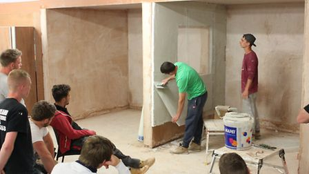 Students learn to become plasterers with Skills Group.
