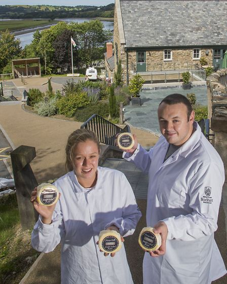 Bodnant Welsh Food. Simon Lloyd and Emily Robinson with the award winning Bodnant salted butter.