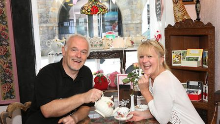 Nigel and Karen Black (formerly from Bollington) at their Beau's Tea Shop, Castle Street