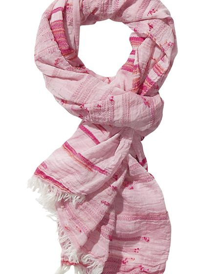 Maison Scotch embroidered pink scarf 45, The Women's Society