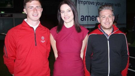 Rhys, Danny and Sky Sports presenter Amy Lewis