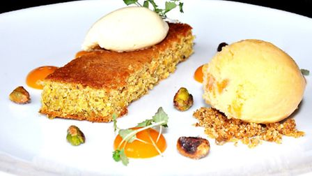 Pistachio olive-oil cake with apricot