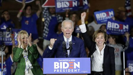 Democratic presidential candidate former Vice President Joe Biden speaks at a primary election night