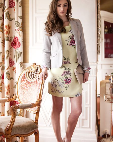 A Joules Olivia blazer, £99.95, Joules Ianthe dress £69.95 and Moda In Pelle Civello heels, £59.95,