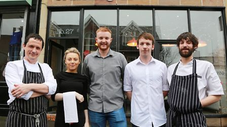 At The Brassica Grill are Chef Patron, Paul Faulkner (left) and team Megan Motlev, Ben Collinge, Ma