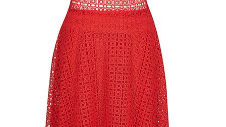 Red Cold Shoulder dress, £80, River Island, Winchester, 0844 847 2578; Southampton, 0844 826 9869 an