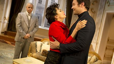 Gary Wilmot as Anthony, Lisa Maxwell as Judy Garland and Sam Attwater as Mickey in End of the Rainbo