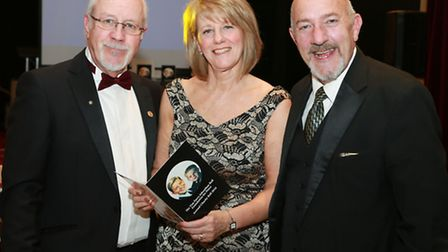 Colin and Wendy Parry with M.C. for the evening, TV presenter, Paul Crone