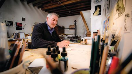 Cartoonist Chris Riddell at his Brighton home