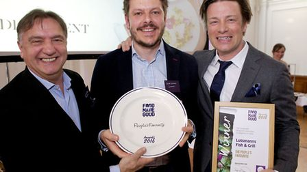 Andrei Lussman with Raymond Blanc and Jamie Oliver at the Food Made Good Awards