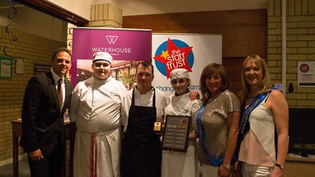 From left: Sascha Koehler Manager at Hilton Brighton Metropole, student chef Tyler Edwards, Russell