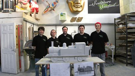 The team who made the sculptures at Aden Hynes Sculpture Studios in Basildon