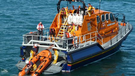 Bembridge's Tamar class lifeboat Alfred Albert Williams deploying its Y boat