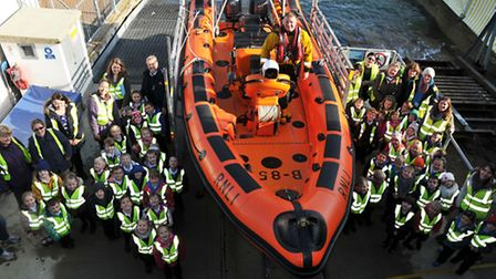One of many school visits to Cowes lifeboat station