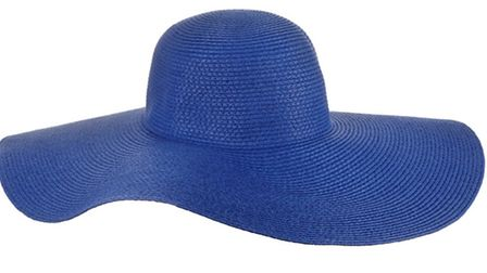 Protect your face and hair under this bright blue floppy straw hat by Accessorize, £15, branches thr