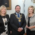 The Lord Mayor of Chester Cllr Hugo Deynem with Mayoress Deb Deynem and Lucy Meacock