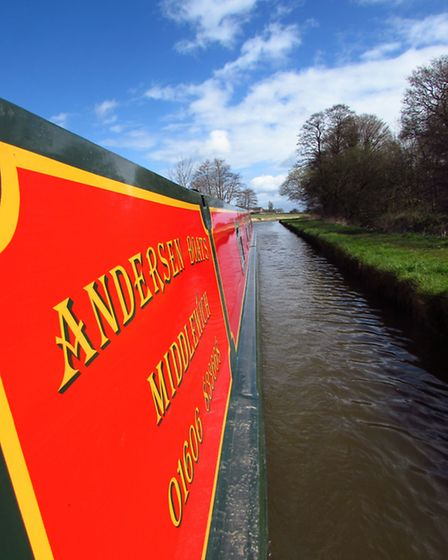 The view from the tiller on our Andersen narrowboat