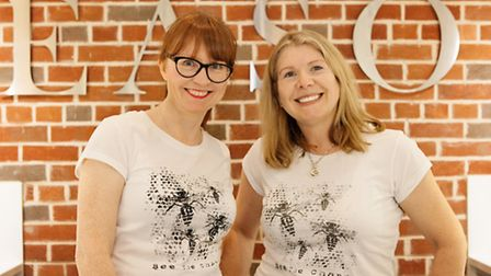 Deborah Campbell and Catharine Skinner wear Bee the Change tees made from organic cotton © Catherine