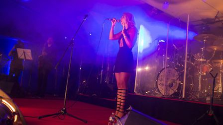 Lauren Lovelle on stage at her launch party (Image credit: Phil Tragen)
