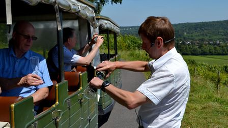 Taking a tour of the vineyard on the Denbies train