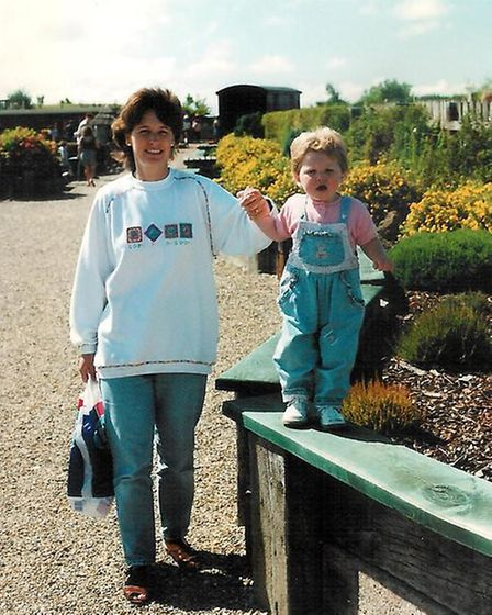 Hannah and her mum in 1996