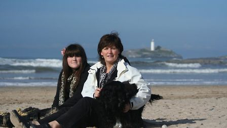 Hannah and her mum Julie on the beach in Cornwall