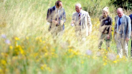 HRH The Prince of Wales with Roger Mortlock (left) chief executive of Gloucestershire Wildlife Trust
