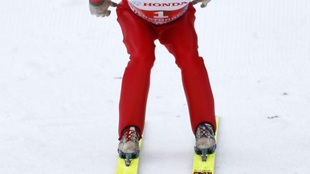 E41W8B Eddie 'The Eagle' Edwards negotiates a small ski jump during the 62nd 4-Hills-Tournament at t
