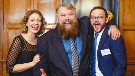 Brian Blessed with Guildford Shakespeare Company founders Sarah Gobran and Matt Pinches (Photo Matt