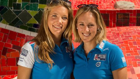 Sophie Ainsworth (left) with team mate Charlotte Dobson (Photo by Andre Bittencourt/British Sailing