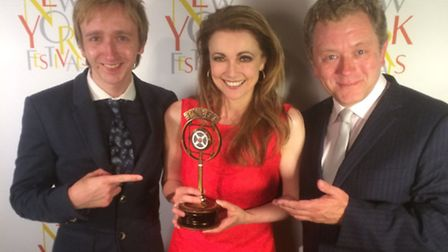 Emma Samms with Jon Culshaw, lead actor in Visitors, and composer Richard T Holmes who wrote an orig