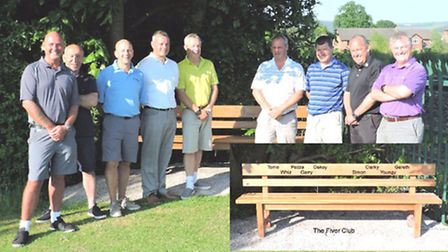 By the new seat are the Fiver Club- ltr Darren Oakes, Carl Withers, Gareth Gowing, Gary Walker, Chri