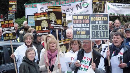 Protestors on a planning demonstration in Guildford