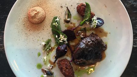 Ox tongue and cheek with beetroot served by Flank at The Cow Brighton