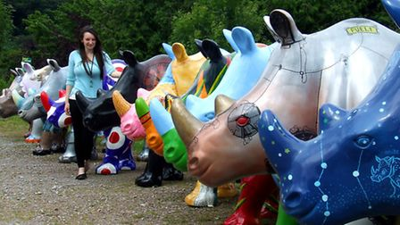 Gina Franchi of Paignton Zoo with rhinos before the Great Big Rhino Road Trip