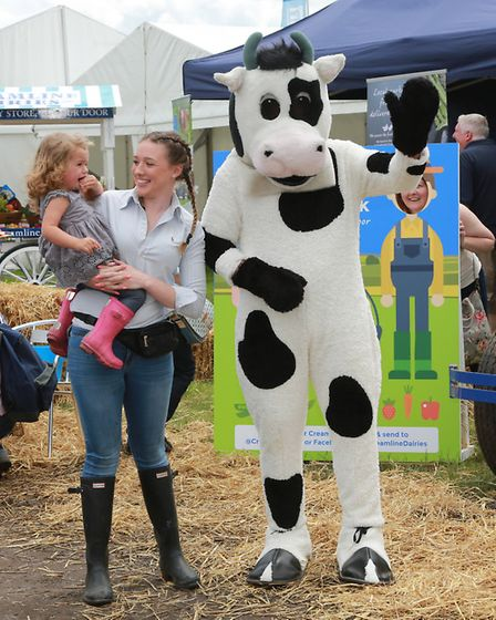 Creamline Dairies mascot cow made one young visitor a little nervous