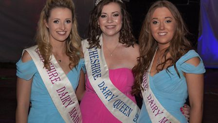 Cheshire dairy maids Catherine Bull and Hannah Crawford with Cheshire dairy Queen Lisa Oakes (centre