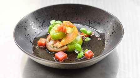 Heritage tomato salad, tomato caviar consomme, basil and bloody mary jelly