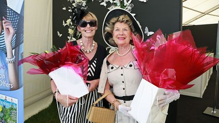 The winner of the best dressed lady competition, Pauline Parkins from Co. Durham, (right) and runner