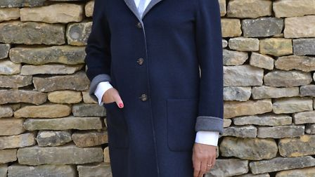 Navy and grey wool coat by Schneiders, £529.