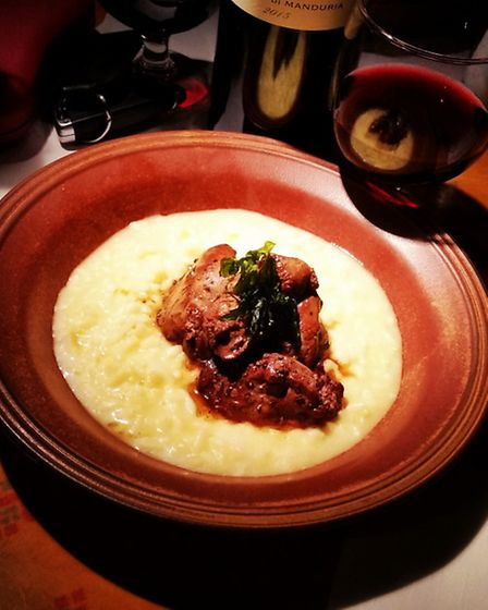 Saffron Risoto with chicken livers in sherry, The Roebuck Inn, Mobberley