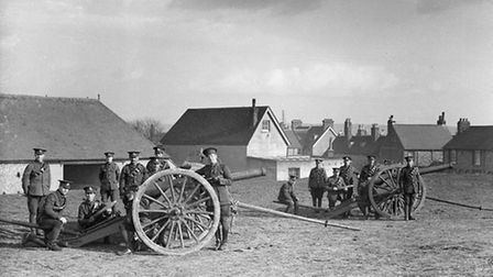 Field Artillery Drill on The Gallops, Lewes 1915. Photo courtesy of Reeves Archive