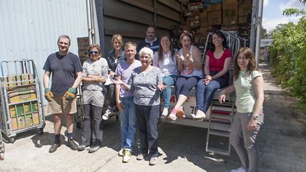 Some of the many volunteers helping load the lorries for Samara's Aid Appeal (Photo by David James P