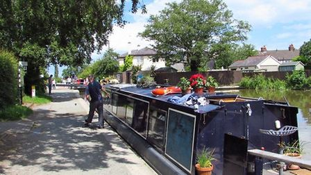 A boater awaits his turn for the Grindley Brook staircase locks