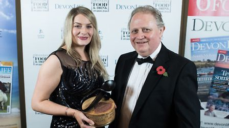 Our 2016 Devon Home Cook winner Emy Mordue with Mike Richards from Bradburys Kitchens