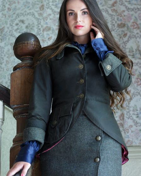 Candice Peachey wears bespoke Tweed and Wax Equestrian-inspired Jacket and Skirt, POA by Melissa Ant