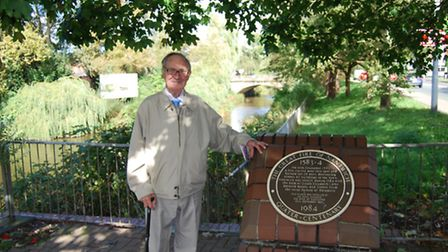 Herbert Rowsell by the fire plaque in Nantwich