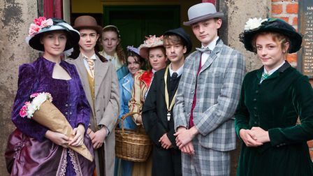 Neston High School pupils dressed as Victorian travellers: Jess Hough, Oliver Radford, Holly Nelson,